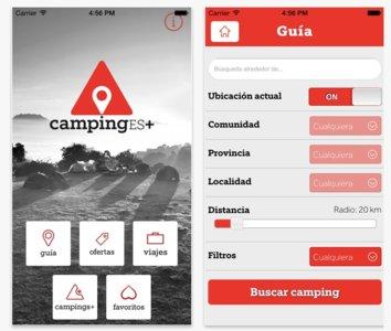 Aplicaciones viajeras: CampingEs, para campistas en España.