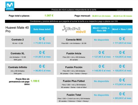Precios Huawei Mate 40 Pro A Plazos Con Tarifas Movistar