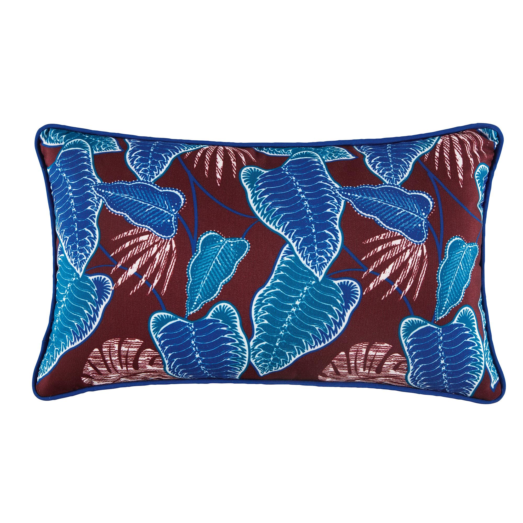 Cojín marrón con estampado de motivos vegetales azules 30x50
