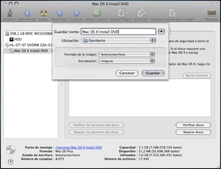 Primer paso instalación OS X en USB