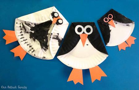 Manualidades Invierno Pinguinos Plato