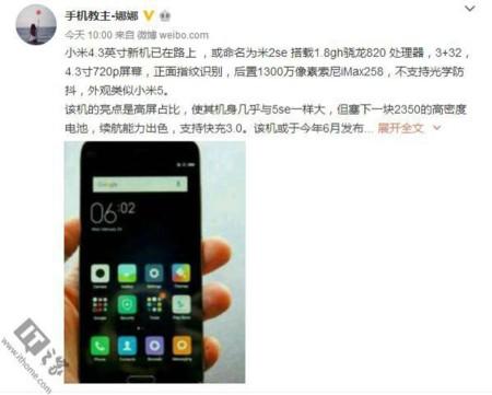 Xiaomi de 4,3 pulgadas