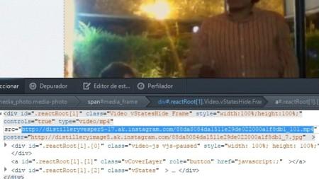 URL del vídeo de Instagram en el inspector de Firefox