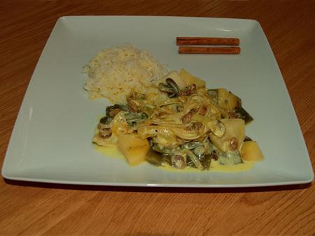 Judías verdes con salsa de yogur sin lactosa al estilo oriental. Receta