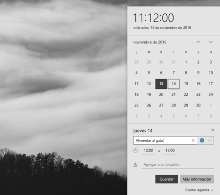Calendario Windows 10 1909