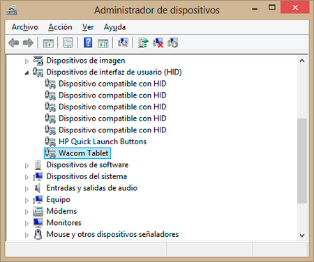 wacom administrador de dispositivos