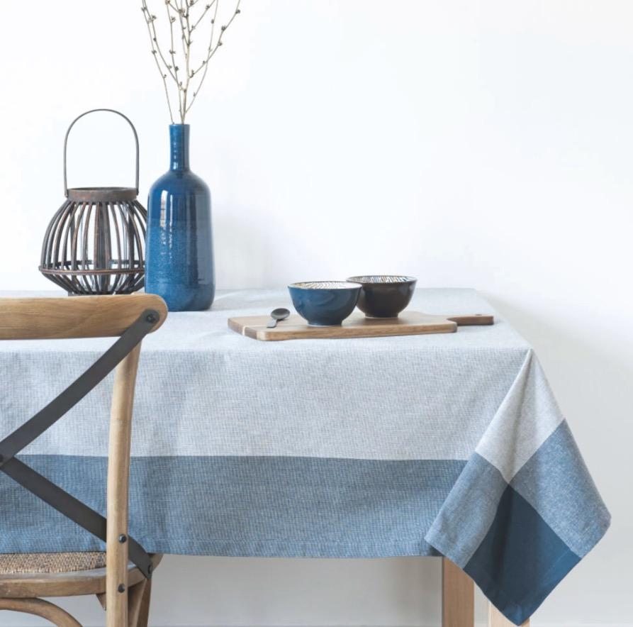 Mantel Bilbao de algodón ecológico azul y blanco 150x150