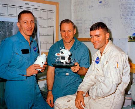 Swigert, Lovell y Haise el día anterior al lanzamiento.