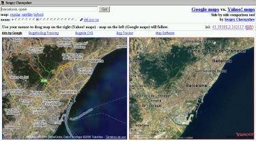 Compara los mapas de Google Maps y Yahoo! Maps