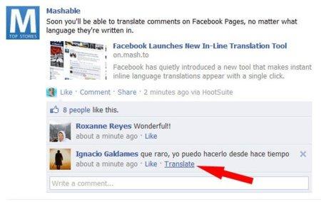 Facebook lanza su servicio de traducción automática de comentarios
