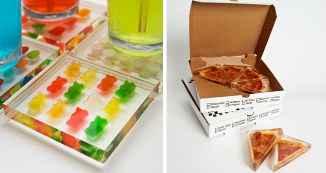 Placas de resina decorativas con comida