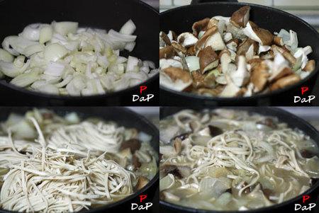 Hacer sopa de noodles y shiitakes