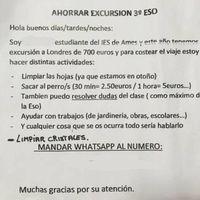 El tierno anuncio de un niño de 14 años que busca trabajo para pagarse una excursión