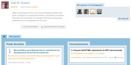 La página de usuario en Tecnología Pyme