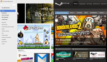 Chrome Web Store y Steam