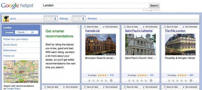 google hotpot recomendaciones de lugares