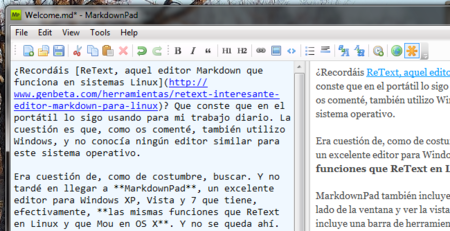 MarkdownPad, editando Markdown en Windows eficientemente