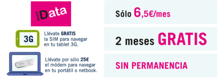 moviData ofrece dos meses de bono de Internet gratuito sin permanencia