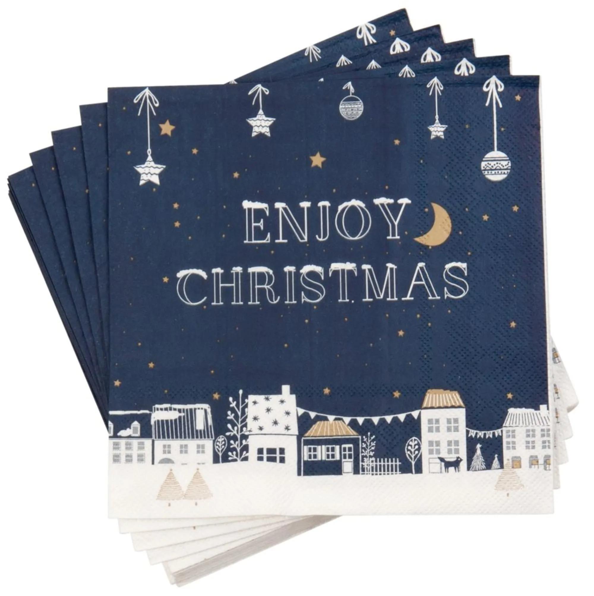 20 servilletas de papel azul noche con estampado de casitas navideñas - Lote de 5