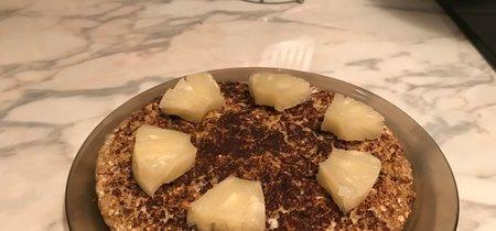 Tortilla de clara de huevo, avena y plátano para el desayuno. Receta