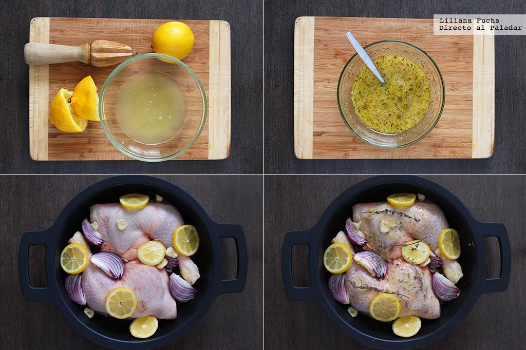 Pollo al horno con limón. Pasos