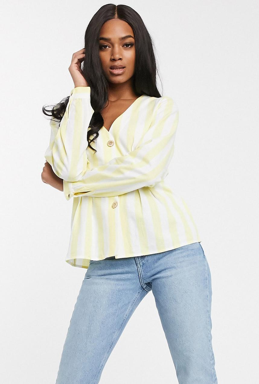 Camisa abotonada de rayas amarillas de Vila