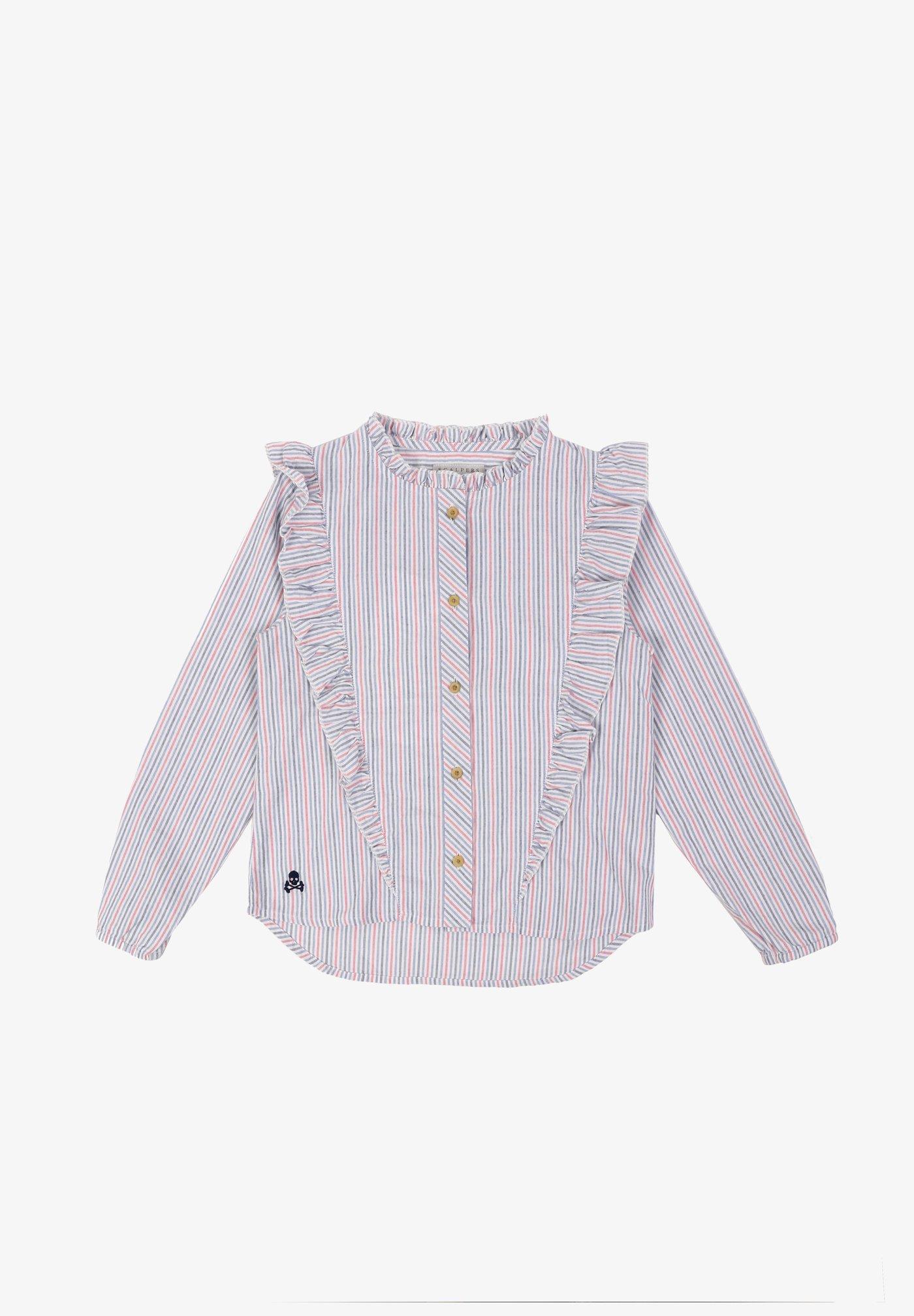 Camisa de niña de manga larga con volantes y estampado de rayas