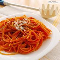 Spaghetti con salsa de pimiento piquillo. Receta