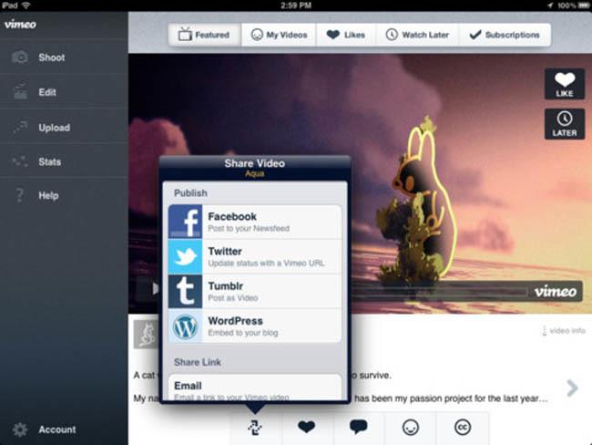 Pantallazo de la aplicación de Vimeo para el iPad