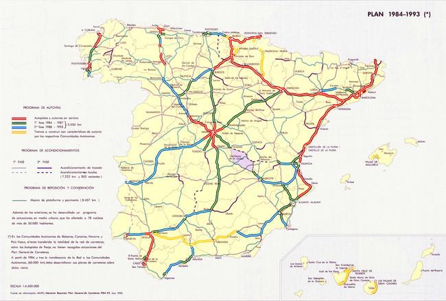 Mapa de autopistas en España (1993)