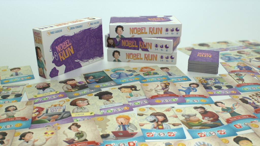 'Nobel Run': el juego de mesa español que te pone en la piel de un científico peleándose con papers para hacerse con el Nobel