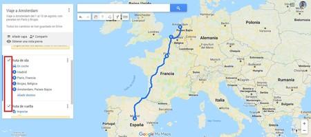 Planificar tu ruta de vacaciones con Google Maps