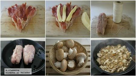 Rollito de pollo con salsa de champiñones Portobello