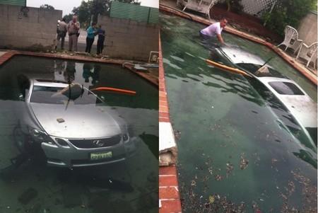 Lexus GS en la piscina