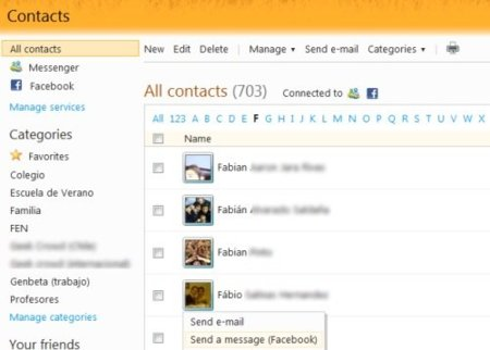 Facebook integrado en Hotmail