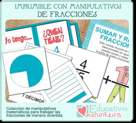 """""""Imprimible con manipulativos de fracciones"""": un nuevo recurso de Educativos Meninheira"""