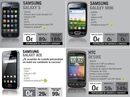 Precios HTC Desire y Samsung Galaxy con Yoigo
