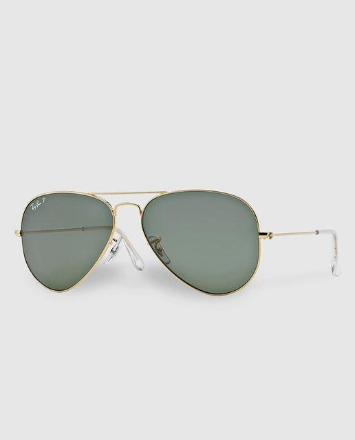 Gafas de sol Aviator Classic con montura metálica y lentes polarizadas en verde