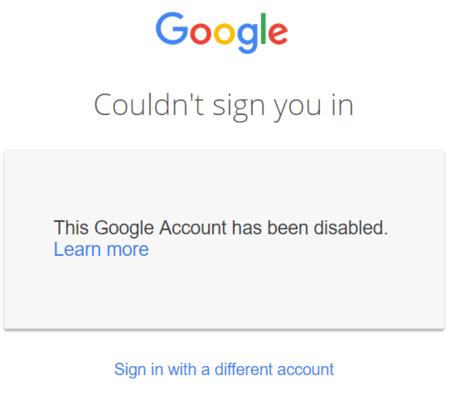 Google cuenta suspendida