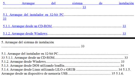 pdf4kindle vs Calibre, tabla de contenidos