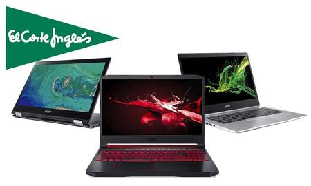 9 portátiles Acer con hasta un 15% de descuento, envío gratis o recogidas Click&Collect y Click&Car en El Corte Inglés
