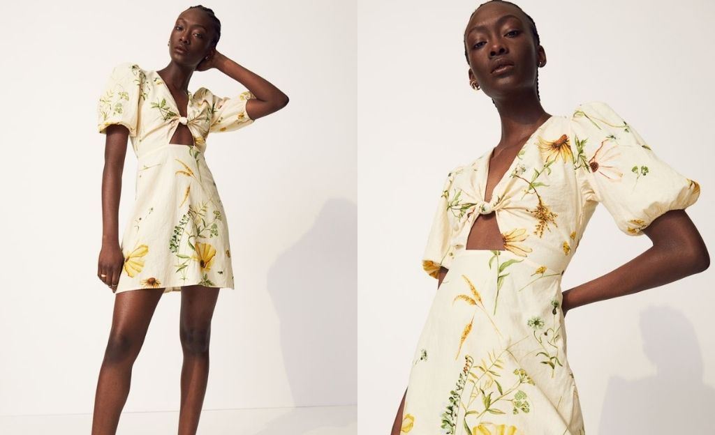 Vestido de lino con detalle cut out