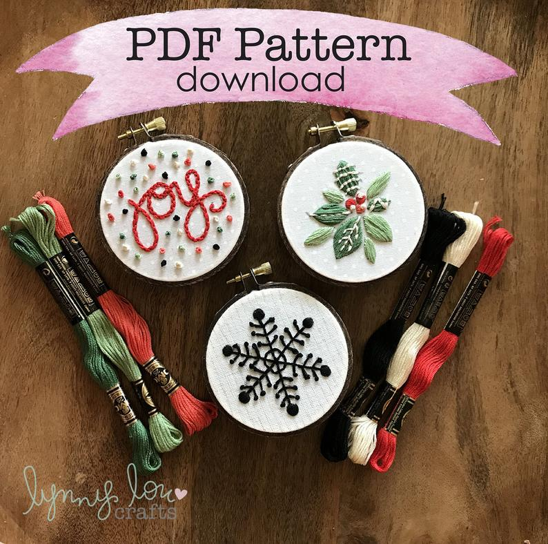 Downloadable PDF Embroidery Pattern, Ornaments, Christmas, Embroidery Design, Hoop Art, Hand Embroidery, Modern Embroidery, Adult Craft