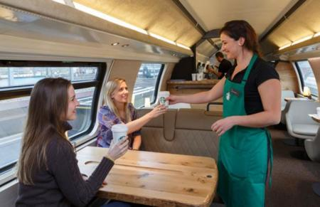 tienda Starbucks en un tren SBB