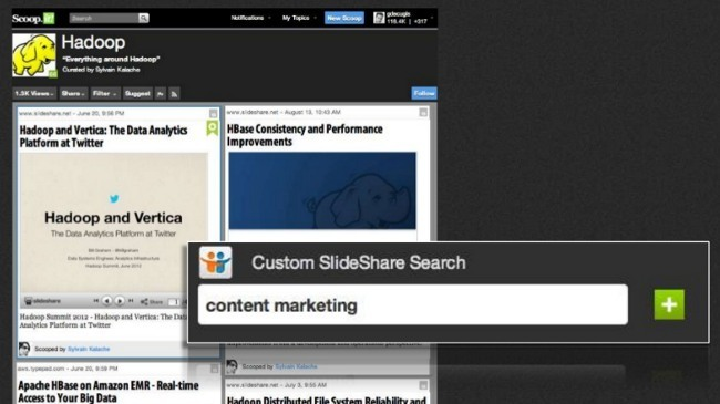 Scoop.it se integra con Slideshare y permite incrustar presentaciones completas