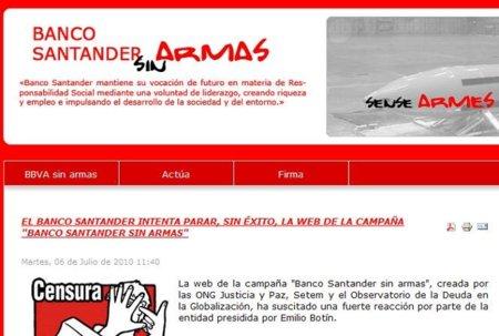 Movistar intentó cerrar una web crítica con el Banco Santander