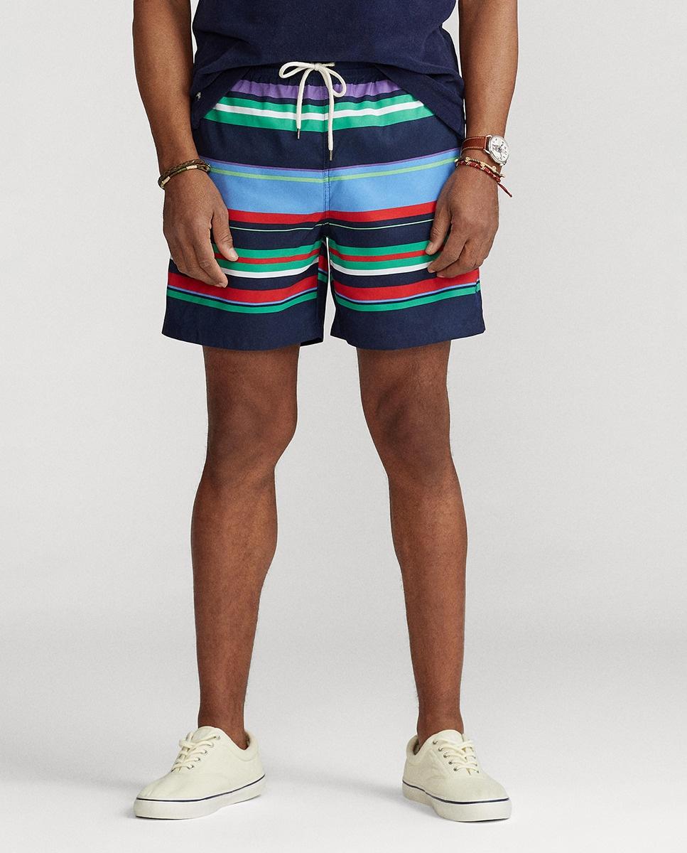 Bañador bermuda de hombre de rayas multicolor