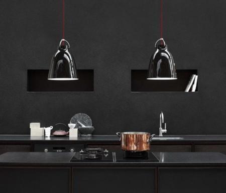 lámparas de dos en dos en blanco y negro