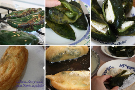 Chiles rellenos de queso - elaboración