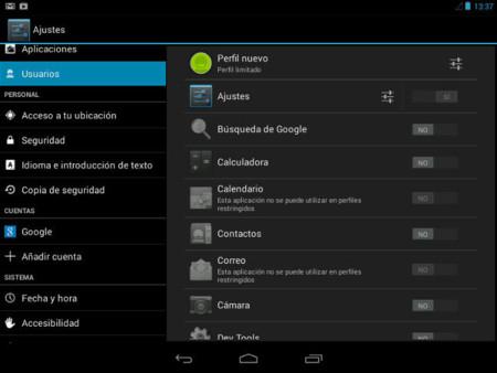Configuración de restricciones para un perfil limitado en Android 4.3